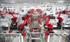 Robots at Tesla's car factory