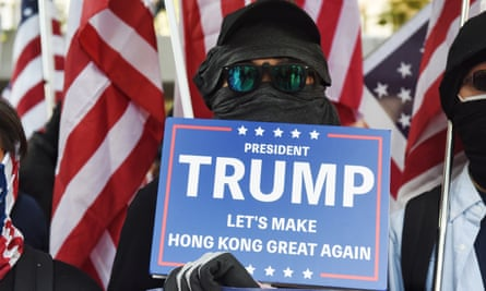 A Hong Kong street protester during the 'March of gratitude to the US' in December last year.