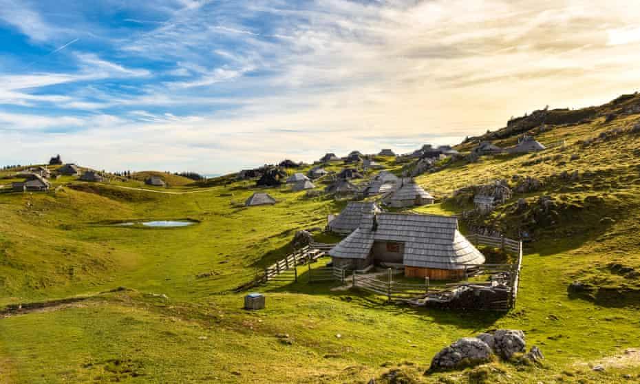 Mountain cottage on idyllic hill Velika Planina.