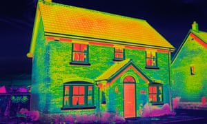 Thermal image of an insulated house
