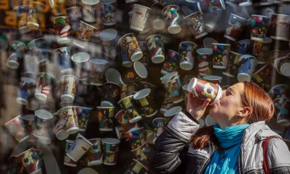 A woman drinking coffee in Kiev, October 2015