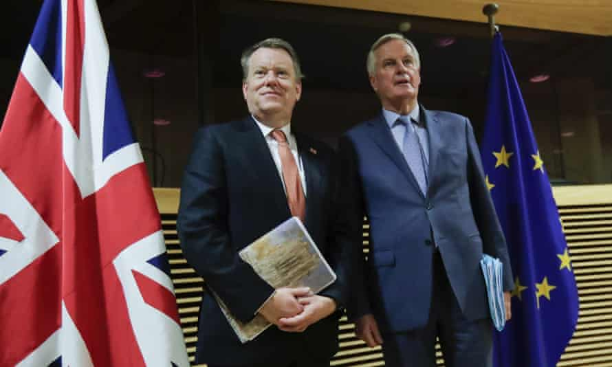 The UK's chief Brexit negotiator, David Frost (left) with the EU's chief Brexit negotiator, Michel Barnier, during the start of the first round of post -Brexit trade talks in March.