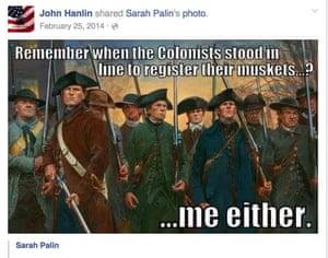 John Hanlin shares a gun lobby message by Sarah Palin