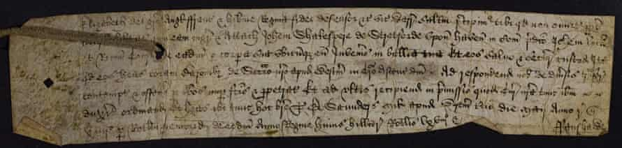 Writ of attachias to the Sheriff of Warwickshire to seize [the goods and chattels of] John 'Shakespere' of Stratford upon Avon.
