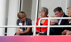 Theresa May looks on from the stands during England's victory over South Africa in the cricket world cup on Thursday.