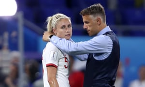 England manager Phil Neville consoles his captain Steph Houghton.