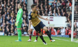 Laurent Koscielny celebrates scoring Arsenal's equaliser in the 3-3 draw at West Ham United