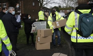 Boxes of home testing being unloaded on a street in Woking today, so that they can be distributed door to door. Woking is one of the areas were testing is being intensified following a case of the South African variant in the area not linked to travel.