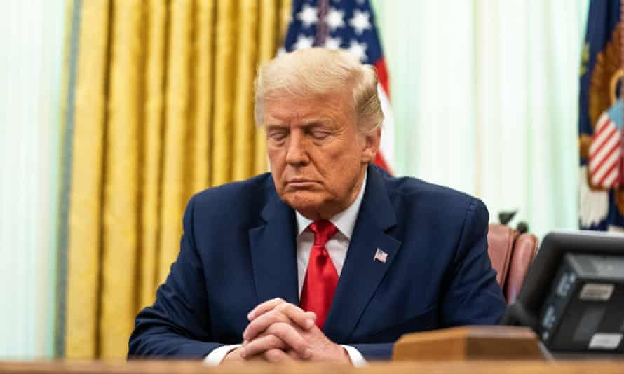 Donald Trump at a prayer meeting in the White House in August.