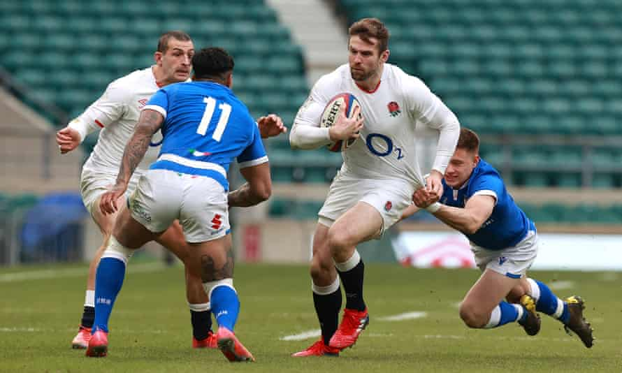 Elliot Daly in action against Italy in England's second match of the Six Nations – the full-back is expected to win his 50th cap against Wales on Saturday.