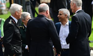 Sadiq Khan with Met commissioner Bernard Hogan-Howe and others outside Southwark cathedral after being sworn in as London Mayor in May.