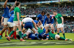 France celebrates Chat's try.