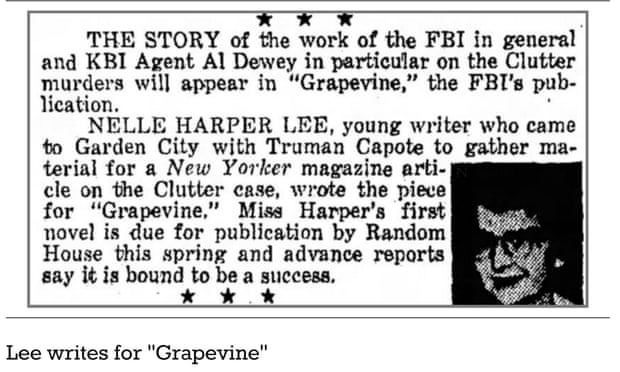 Clipping from the Garden City Telegram, in which Harper Lee's friend Dolores Hope alerted readers to a forthcoming article by the To Kill a Mockingbird author