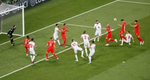 In the 11th minute, with England dominant, John Stones slams a header goalwards …