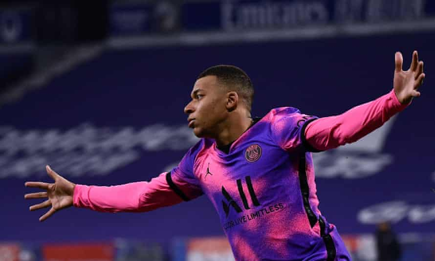 Kylian Mbappé scored twice for PSG as they won in Lyon.