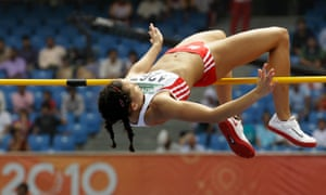 Over the top: England's Louise Hazel competes in the Heptathlon High Jump during the Commonwealth Games, 2010.