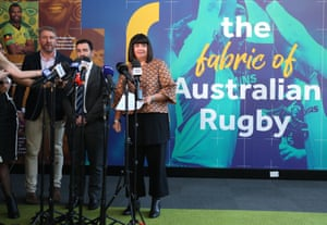 Rugby Australia CEO Raelene Castle prepares to speak as she stands next to NSW Waratahs CEO Andrew Hore in Sydney.
