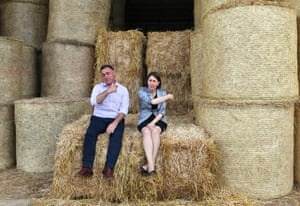 NSW premier Gladys Berejiklian and NSW Nationals leader John Barilaro at a hay farm outside Lismore.