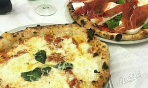 Pizza on a table at Gorizia 1916, Naples.