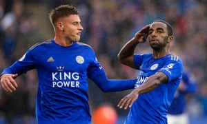 Ricardo Pereira celebrates after opening the scoring for Leicester against Newcastle.