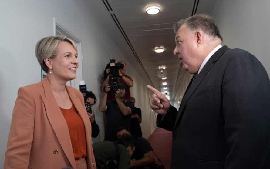 Tanya Plibersek and Craig Kelly have an impassioned discussion in the press gallery of Parliament House in Canberra on February 3.