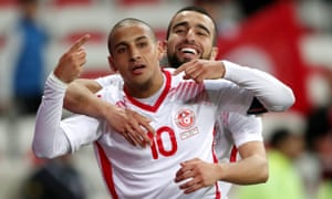 Wahbi Khazri, celebrating with Naim Sliti after scoring against Costa Rica in a pre-World Cup friendly, is expected to play as a No 9.