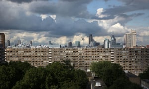 City of London skyline as seen from the Heygate Estate, Elephant & Castle, London.