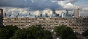 The London skyline as seen from the Heygate Estate