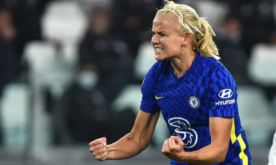 Pernille Harder celebrates scoring Chelsea's winner in their 2-1 victory at Juventus