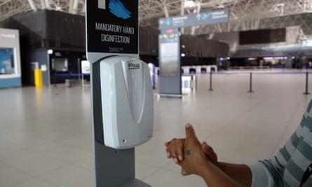 Hand sanitiser facility at Zagreb airport, Croatia.