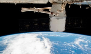 A resupply ship attached to the international space station