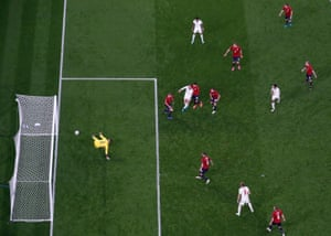 Jordan Henderson sticks the ball in the net but is denied his first goal for England as he was offside.