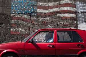A large American flag painted in 2008 on a wall in Gjilan