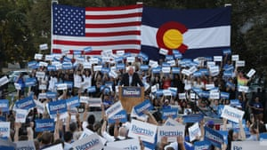 Denver, US The Democratic presidential candidate Bernie Sanders addresses a rally in Colorado