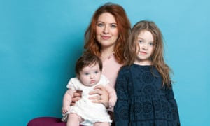 Natasha Pearlman with her two young children, Rose and baby Thea