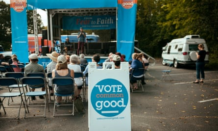 Attendees listen to Doug Pagitt at the Vote Common Good Rally.