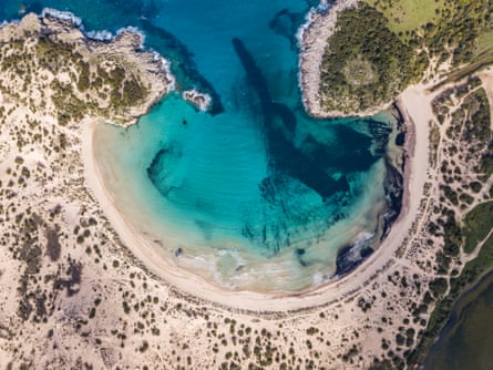 Aerial view of Voidokilia Beach, a popular beach in Messinia in the Mediterranean area of Greece