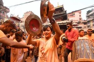 Revellers during the Bisket Jatra festival in Thimi