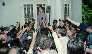 Aung San Suu Kyi at home on the first day of her release from house arrest on 11 July 1995 in Yangon