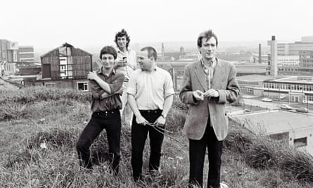Gang of Four pictured in the late 1970s ... (L-R) Dave Allen, Jon King (background), Hugo Burnham, Andy Gill.