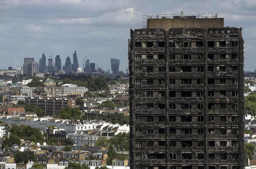 Grenfell Tower in the aftermath of the fire on 14 June 2017