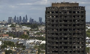 Grenfell Tower a month after the fire in June 2017.