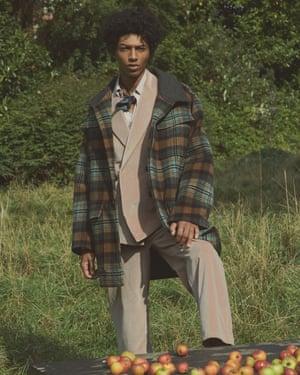 Coat, nanushka.com. Velvet jacket, velvet trousers, and silk shirt, rochas.com. Neck scarf, £9.99, zara.com