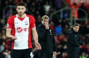 Liverpool's manager Jurgen Klopp makes a signal as his team beat Southampton 2-0 at St Mary's stadium.