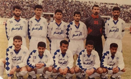 Sahib Abbas, top left, during his time with Iraq's leading club, Al-Zawraa