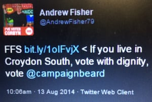A 2014 tweet from Andrew Fisher encouraging voters to support the Class War candidate.