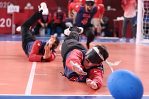 Calahan Young (right) and Tyler Merren of Team USA make a save during the Goalball men's preliminary round group match agains Brazil