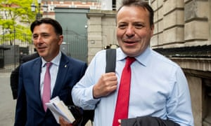 Leave.EU Brexit campaign co-founder Arron Banks, right, and political campaigner Andy Wigmore leave after facing questions by members of the DCMS committee.