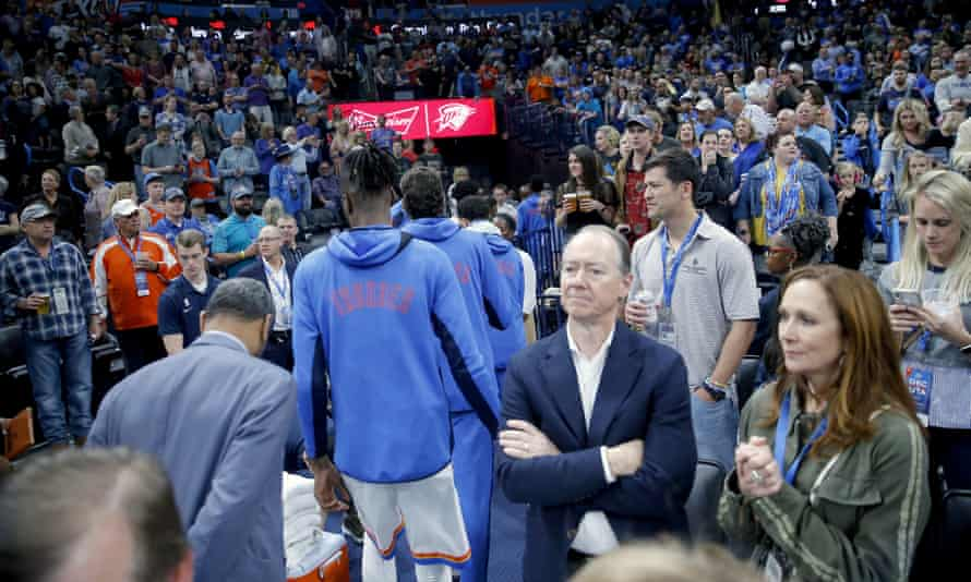 The Oklahoma City Thunder leave the court on Wednesday night after learning their game against the Utah Jazz had been postponed – and the NBA season suspended