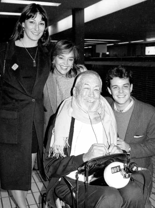 Danny Huston, right, in 1985 with his father John, mother Zoë Sallis and sister Anjelica.